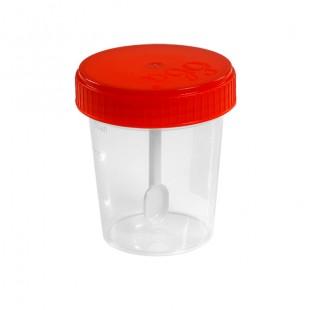 Контейнер для биопроб 100 мл. полимерный со шпателем стерильный